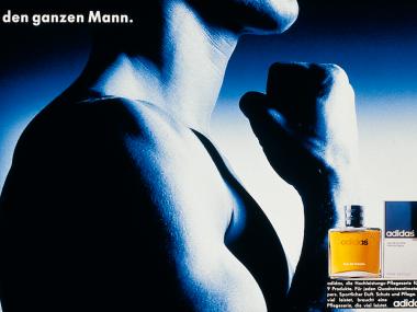Anzeige zur Einführung der adidas Herrenkosmetikserie,1985