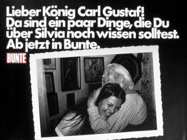 """Großflächenplakat für die BUNTE-Aktion """"König Carl Gustav"""", 1976"""