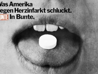 """Großflächenplakat für die BUNTE-Aktion """"Aspirin gegen Herzinfarkt"""", 1977"""
