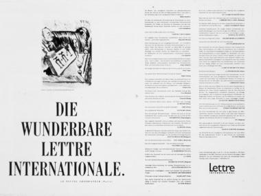 """Anzeige zur Einführung der Kulturzeitschrift """"Lettre International"""", 1988"""