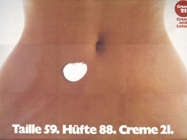 Plakat für den Relaunch von Creme 21, 1975