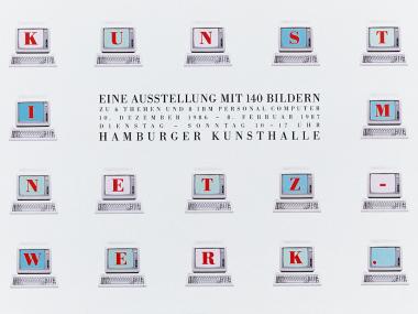 """Plakat für die Ausstellung der IBM """"Kunst im Netzwerk"""", 1986"""
