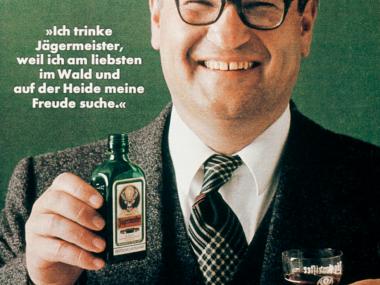 Anzeige für Jägermeister mit Paul Gredinger, dem 2. G von GGK und dem 1. von allen, 1973
