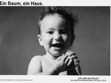"""Großflächenplakat zur Aktion """"Ich will ein Kind"""", 1989"""