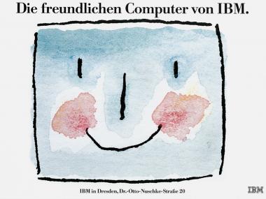 Plakat zur Eröffnung von IBM-Läden, 1988
