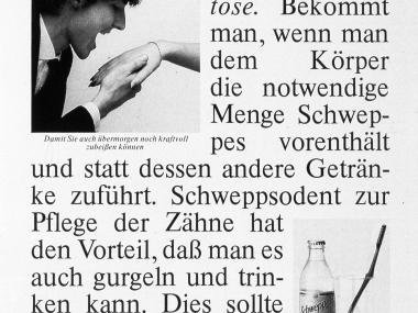 Zeitschriftenanzeige für Schweppes, 1983