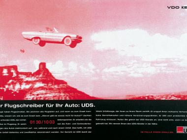 Zeitschriftenanzeige für den Unfalldatenspeicher von VDO Kienzle, 1993