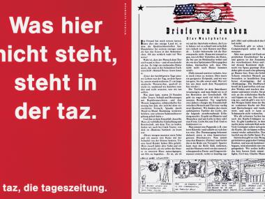 Anzeige für taz, die Tageszeitung, 1990